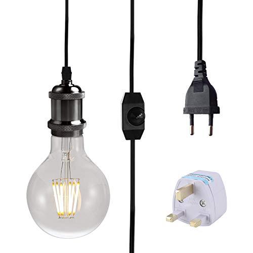 FLYFLY Portalampada E27 con interruttore e spina cavo 3,5m per lampada con dimmable standard EU lampadina Lampade a sospensione (Nero)