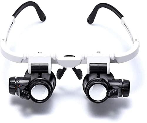 Kopfmontagelupe, Vergrößerungskopf mit Lupenglas mit LED-Licht für die Reparatur von Uhren 8X 15X 23X