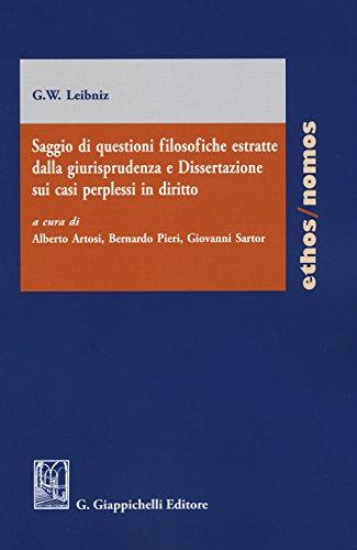 Saggio di questioni filosofiche estratte dalla giurisprudenza e dissertazione sui casi perplessi in diritto