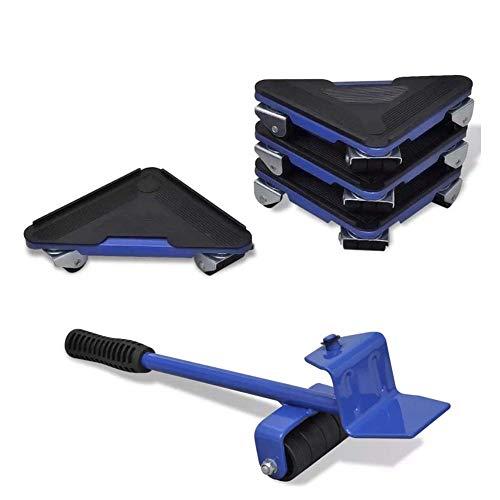 SOULONG 4 Coins Roulants Kit Levier et Chariot de Meubles sur roulettes Kit de déplacement de Meuble avec 1 Levier Lot de 4 Supports de Transport Fer et Caoutchouc Capacité de 300 kg Bleu
