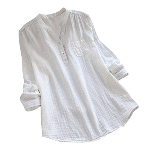 YEBIRAL Damen Bluse Lose Einfarbig Große Größen V-Ausschnit Langarm Leinen Lässige Tops T-Shirt Bluse S-5XL(EU-38/CN-M,Weiß)