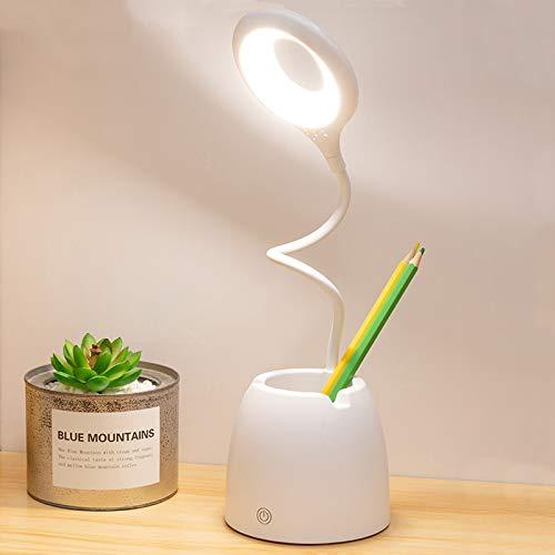 Komake Lámpara Escritorio LED, Flexo LED escritorio,3 Niveles de Brillo, con Control Táctil Recargable USB, Lámpara de Lectura Para el Cuidado de Los Ojos, LED- Luz Lectura Lámpara