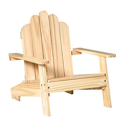 Outsunny Adirondack-Gartenstuhl Kinder Gartenliege Balkonstuhl Lounge Stuhl für 1-4 Jahre aus Holz Gartenmöbel Natur 51 x 50 x 52,5 cm