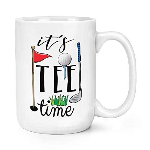 N\A Dason Its tee Time Taza de cerámica Brillante de 11 oz con asa en C - Divertido Golf papá Día del Padre Sport Big 817640