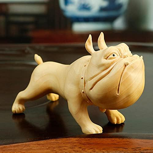 Decoración Decoración De Escritorio De Escultura De Estatua Animal De Talla De Madera Pequeña De Bulldog