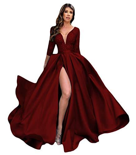 Dymaisei Women's High Split Lace Satin Evening Formal Dress Prom Dress Long Sleeve Party Gown US12 Burgundy (Apparel)
