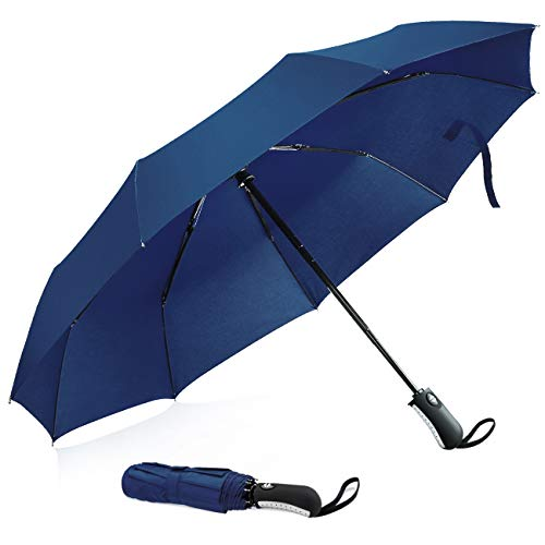 UROPHYLLA Windproof Travel Umbrella, Compact Folding Umbrella Automatic Open Close, WIND-DEFYING 9-RIB Lightweight Small Umbrella for Backpack (Navy Blue)