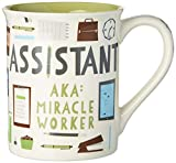 """""""Assistant Miracle Worker"""" patter from Our Name is Mud Message reads: """"Assistant, A.K.A Miracle Worker"""" Shipped in decorative gift box High-quality stoneware is dishwasher and microwave safe 16 oz. capacity"""