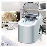 自動アイスメーカー家庭用携帯用インテリジェント温度制御電気ラウンド製氷機 (Color : Silver)