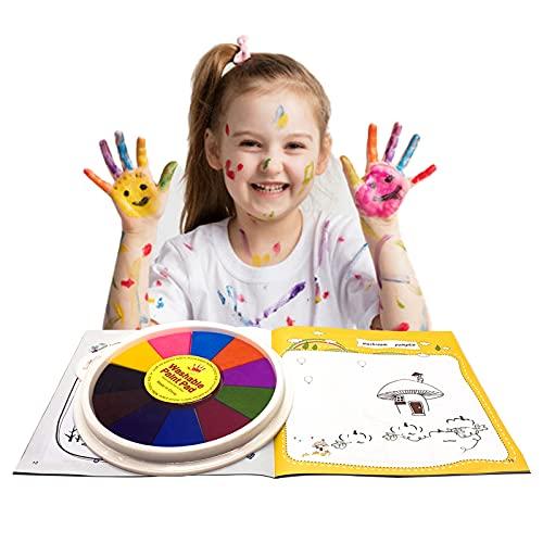 Kit de Peinture au Doigt Enfant, Peinture Enfant Lavable Non Toxique, Jouets de Dessin de Doigt, 12 Couleurs avec Livre de Peinture au Doigt