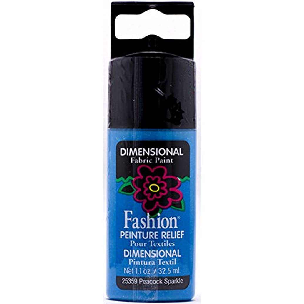 Plaid Fashion Dimensional Fabric Paint in Assorted Colors (1.1-Ounce), 25359 Peacock Sparkle
