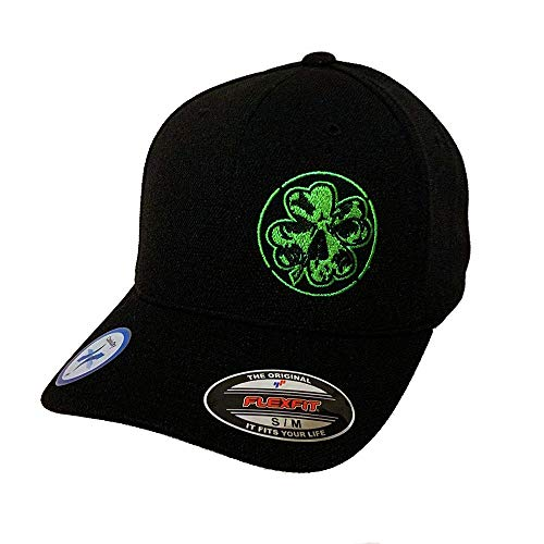 New Black Flexfit Never Fade Fitted Hat - Green Stitch Shamrock