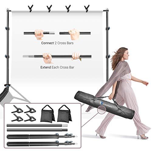 LimoStudio - Soporte de fondo ajustable con altura de vídeo para fotos, 3 m, barra transversal ancha de 2,2 m con bolsa de transporte, 4 abrazaderas de muselina, estudio de fotografía, AGG3010