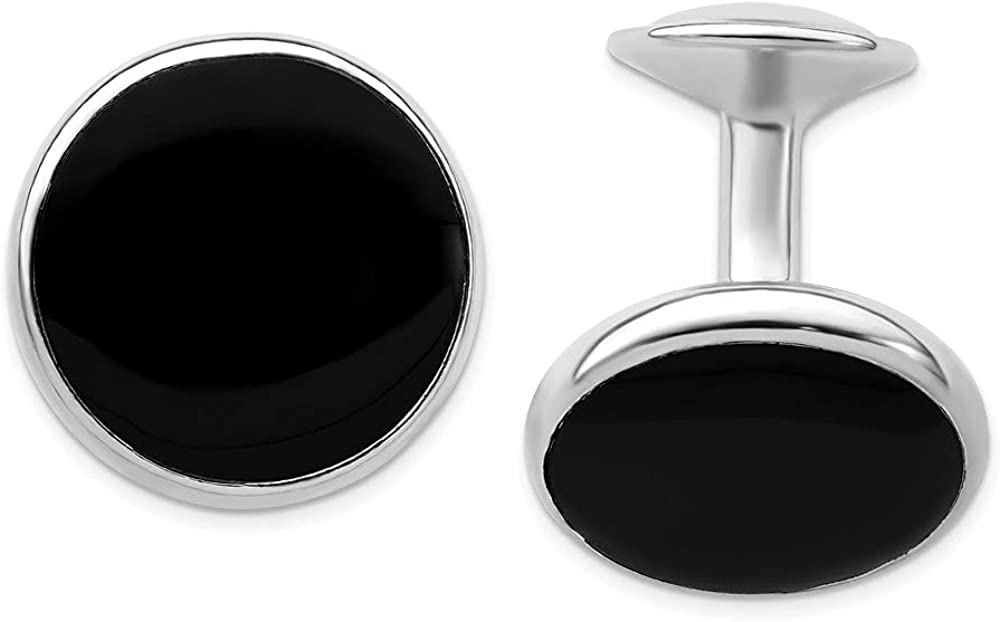 Diamond2Deal Rhodium-Plated Kelly Waters Black Epoxy Cuff Link for Mens (Length : 19 mm; Width :19 mm)