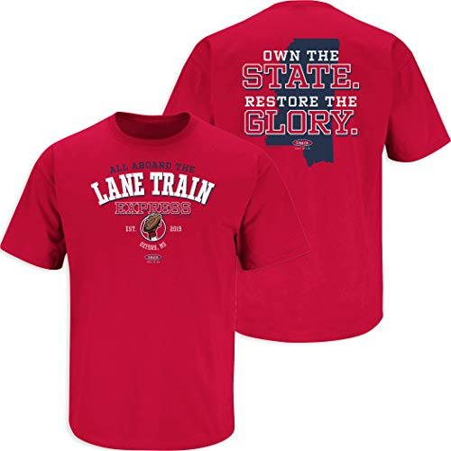 Smack Apparel Ole Miss Fußball-Fans. T-Shirt All Aboard The Lane Train Express, Gr. S - 5X, Rot, Herren, rot, XXX-Large