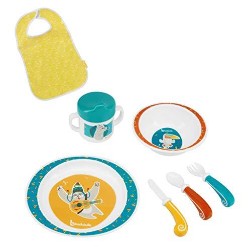 BADABULLE Coffret Repas pour enfant Yummy Bleu - Assiette, bol, tasse, couverts à bout rond et bavoir