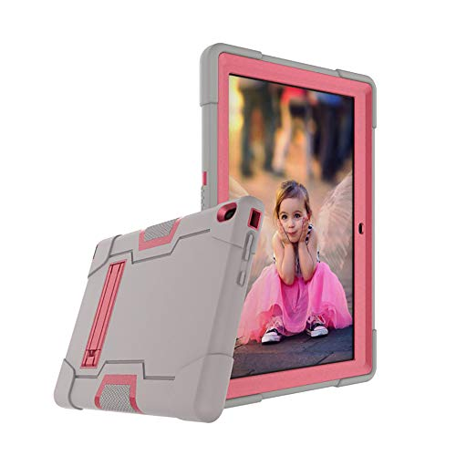 Cherrry for Lenovo Tab E10 (TB-X104F) Case,Heavy Duty Shockproof Hybrid Rugged Hard Armor Full Body Protective Case (Built-in Stand) for Lenovo Tablet 2018 Tab E 10 10.1 Inch Case (Gray/Pink)