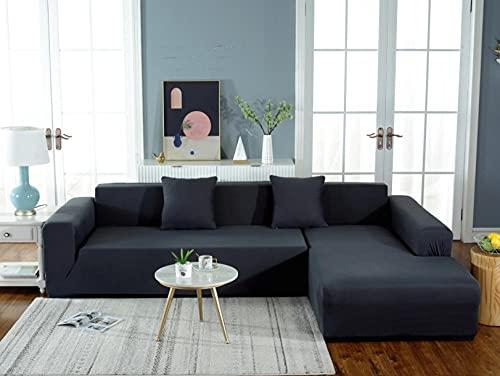 Funda Sofá Elástica 1 Plazas: 90-140 cm Funda para sofá Antideslizante Funda de Sofá Todo Incluido,Suave del Protector de Muebles,Lavable Sofá Cojín - Negro Elegante