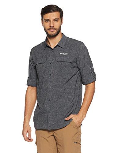 Columbia Irico Men's Lon Camisa, Hombre, Gris (Black Heather), M
