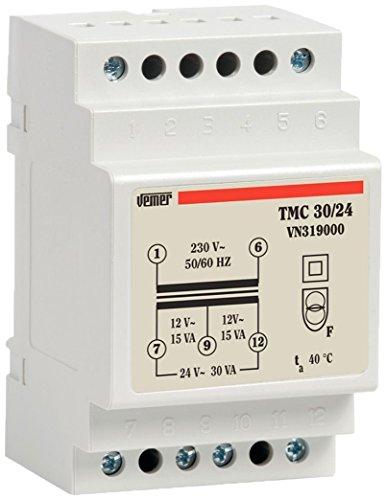 Vemer VN319000 Trasformatore TMC 30 24 da Barra DIN per Servizio Continuo 230V 12-24V Potenza 30VA, Grigio Chiaro