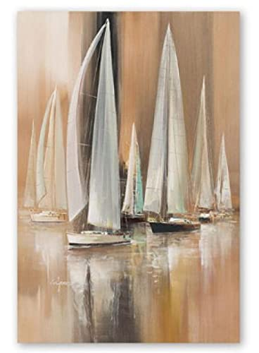 Modern Abstract Harbor Sailboat Painting Posters and Prints Wall Art Painting Room Decor Living Room Decor Pictures (15.74x23.62 in)40x60 cm Frameless
