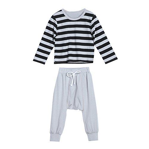 Diamondo Conjunto de calça listrada de manga comprida para bebês e meninos (120)