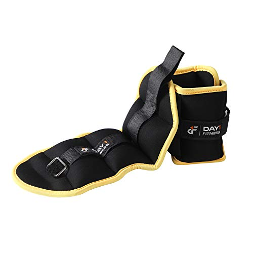 Day 1 Fitness Ankle Weight Pair 2.0 LBS, Set of 2 with Adjustable Velcro Straps - Breathable, Moisture Absorbent Weight Straps for Men and Women - Comfortable Ankle, Wrist Weights