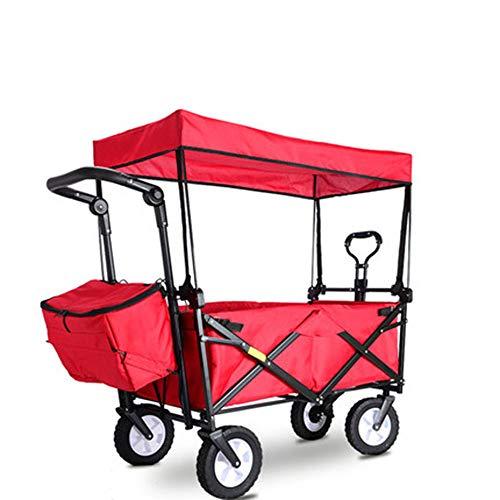 HDGZ Chariot charrette remorque de Jardin Transport à Main en métal Charge maximale de 300 kg Robuste Montage Simple et Rapide avec bâche et Parties latérales Amovibles(C)