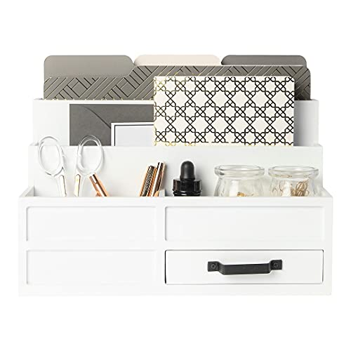 Blu Monaco White Wood Mail Organizer with Drawer and Pen Holder - Desk Organizer and Sorter for Bills, Storage, Countertop and Kitchen