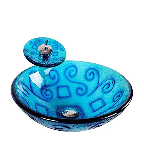 QJJML GlasspüLe, Kreatives Retro-Badezimmer Im Blauen Mediterranen Stil,B