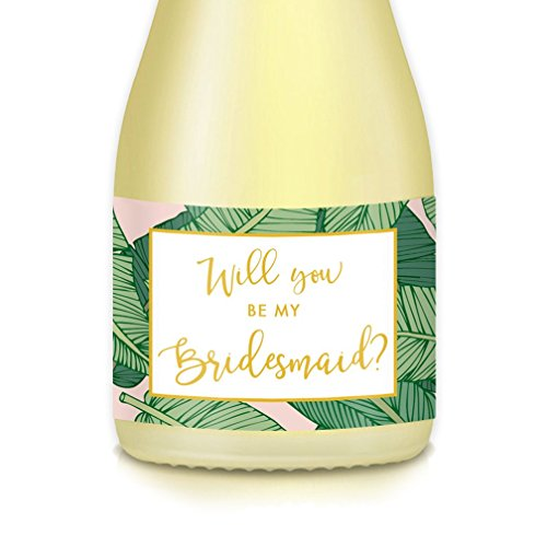 "Will You Be My Bridesmaid? Mini Champagne, Wine Bottle Labels Bride Asking Wedding Party Maid, Matron of Honor Proposal to Family, Best Friends, Multi-Use Decal, Favors, Gift Box & Bags 3.5"" x 1.75"""