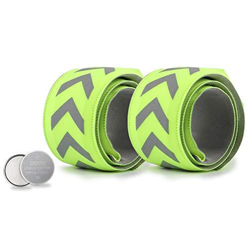 TBoonor LED Armband 2 Stück Reflektorbänder für Nacht Sicherheits Leuchtarmbänder für Kinder/Erwachsene Helles Blinklicht Reflektorbänder für Outdoor-Sport, Nachtlauf Running, Jogging (Grün - 2 PCS)