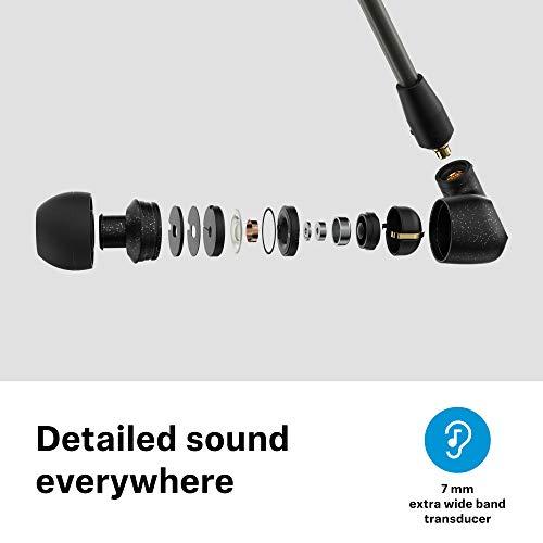 Sennheiser IE 300 In-Ear-Kopfhörer, schallisolierend mit XWB-Transducern für ausgewogenen Klang, abnehmbares Kabel mit flexiblen Ohrbügeln, Schwarz