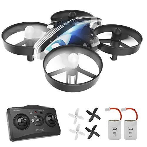 ATOYX Mini Drone, RC Drone 2.4G 4 Canales 6-Axis Gyro, Quadcopter con Modo sin Cabeza, Altitud Hold, Alarma de Batería y 3 Modos de Velocidad, Regalos y Juguetes, AT-66B (Negro)