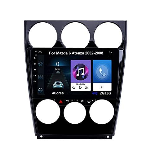 Autoradio Android Car Radio Stereo 9 Pulgadas Pantalla Táctil For Mazda 6 Atenza 2002-2008 Conecta Y Reproduce Cámara De Respaldo Estéreo De Coche Auto Dvd Player (Color : 4Cores 4G 2G32G)