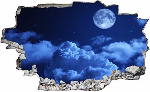 DesFoli Mond Nacht Himmel 3D Look Wandtattoo 70 x 115 cm Wanddurchbruch Wandbild Sticker Aufkleber C433