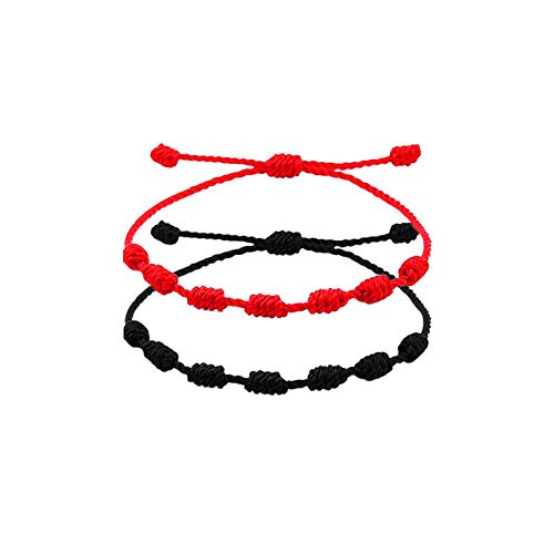 Stology Handmade 7 Knots Red String Lucky Bracelets for Protection, Adjustable Kabbalah Red Thread Bracelet Ankle Strand Amulet Rope Cord Jewelry Accessory for Men Women 2 Packs