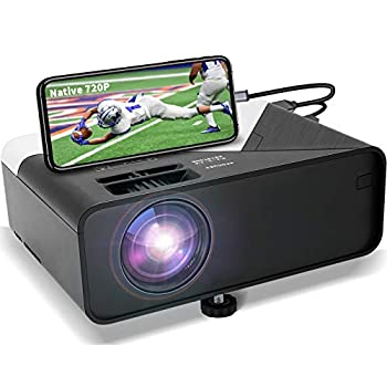 GRC Mini Projector Full HD 1080 Supported Native 720P Projector Movie Projector with Built-in HiFi Sound Speaker Compatible with TV Stick HDMI USB AV DVD for Multimedia Home Theater/ Outdoor Movie