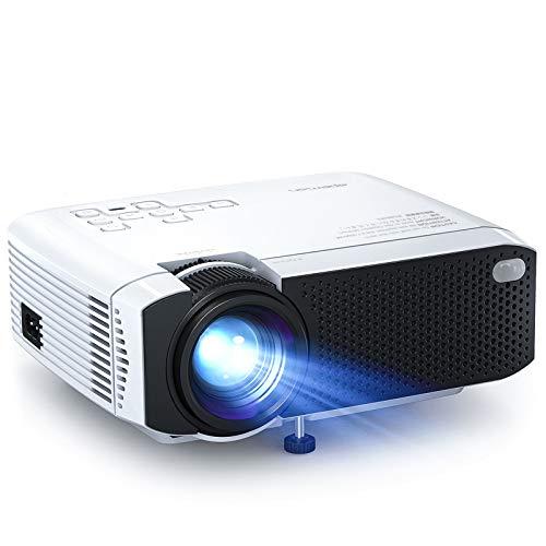 Proyector, APEMAN Mini Proyector Portátil en Casa, Soporte HD 1080P, 4500 Lúmenes, Pantalla Grande, Altavoces Duales, 50000 Horas Vida, Compatible con TV Stick, PS4 (Cable HDMI / RCA Incluido)