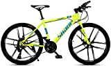 Llpeng 24/27/30 Pouces, intégré Dix-Cutter Roue Adulte VTT Vélo, et Avant arrière Double Freins à Disque, mâle et Femelle Vélos à Vitesse Variable (Color : Yellow, Size : 24)
