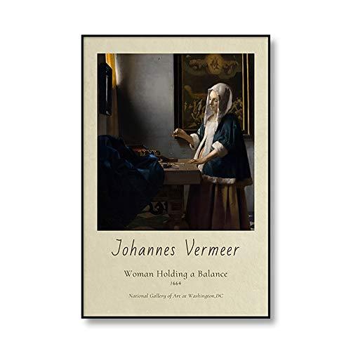 Chica de Johannes Vermeer con pendientes de perlas, carteles de exposición e impresiones, arte retro, pared, hogar, lienzo sin marco, pintura A1 30x45cm