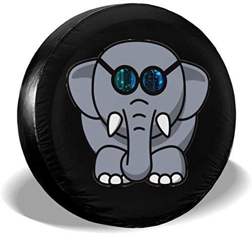 MODORSAN Elefante con Gafas Galaxy Cubierta de neumático de Rueda de Repuesto de poliéster Cubiertas de Rueda universales para Jeep, Remolque, RV, SUV, camión, Accesorios, 16 Pulgadas