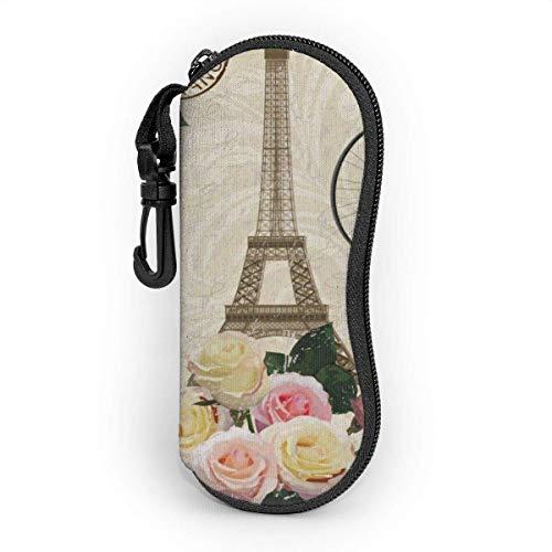 Brave Har Estuche blando para gafas de sol Estuche protector portátil ultraligero con clip para cinturón, Torre Eiffel de París vintage rosa