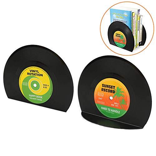 yidenguk Buchstützen, 2 Stück, Schallplattenform, Vintage-Stil, Vinyl-Schallplattenbuch, CD-Buchstütze, kreatives Geschenk, Mini-Bücherregal für Schlafzimmer, Bibliothek, Büro, Schule, Schreibwaren