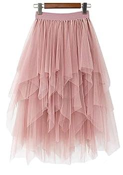 LBKKC Women s Tulle Skirt Formal High Low Asymmetrical Midi Tea-Length Elastic Waist Skirt Nude Pink