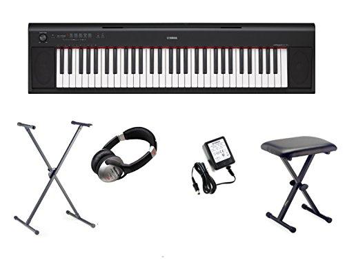 Yamaha NP-12 Piaggero Home Keyboard, 61 Tasten, inkl. X-Ständer, X-Hocker, Kopfhörer und Netzteil, Schwarz