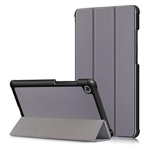 NOKOER Funda para Lenovo Tab M7, Super Delgada Soporte Triple con Función Leather Cover, Inteligente Case [Antideslizante] [Huella Digital Anti] Protección de 360 Grados - Gris