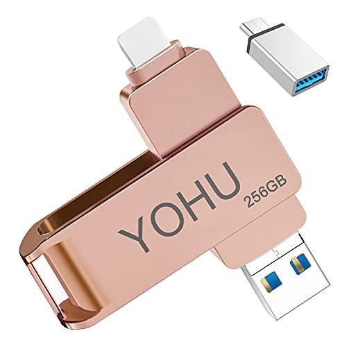 YOHU 256 Go Clé USB pour Phone et Pad Compatible Flash Drive avec Connecteur Extension de Stockage Mémoire Photo Stick pour iOS Andriod Appareils et PC Ordinateur Rose