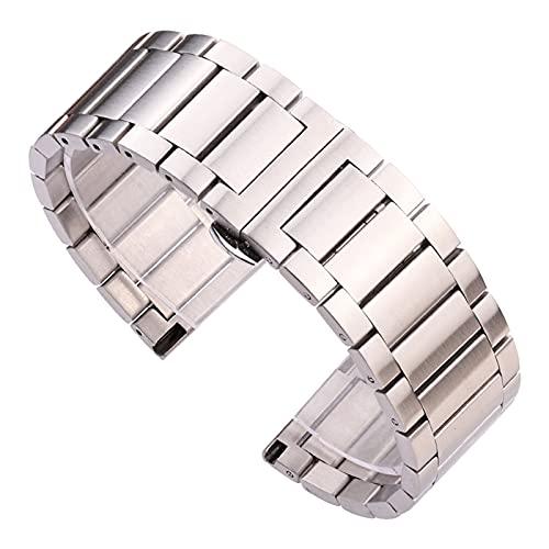 DANFENG 18mm 20 mm 22 mm Banda de Reloj de Acero Inoxidable Apto para Engranaje S3 Galaxy Watch 3 41 Pulsera de 45 mm Pulsera Silver Metal Strap Band (Band Color : Silver, Band Width : 22mm)