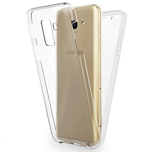NALIA 360 Grad Handyhülle kompatibel mit Samsung Galaxy A8 2018, Full-Cover Silikon Bumper Bildschirmschutz vorne Hardcase hinten, R&um Hülle Doppel-Schutz, Dünn Hülle Handy-Tasche, Farbe:Transparent